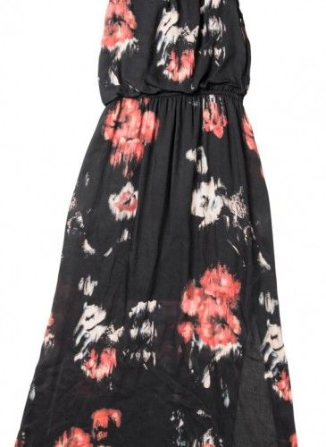 vestido largo negro de flores Surkana
